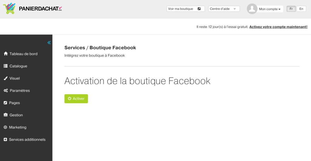 Boutique en ligne Facebook