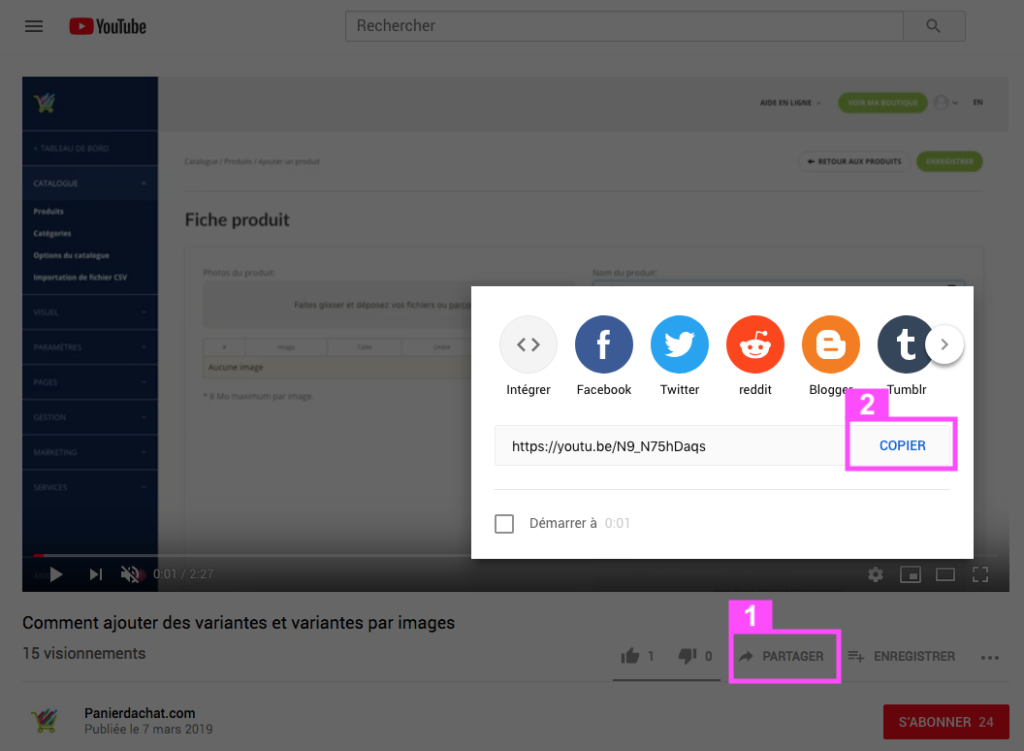 How to add a video on a page of my website? - Panierdachat